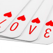 Photo manipulation with playing cards. Love sign. Isolated — Stock Photo