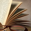 Glasses with old opened book. — Stock Photo #29400883