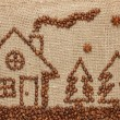 Stock Photo: House and Christmas tree made from coffee beans.