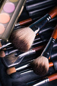 Professional make-up brushes with eye shadows palette. — Stock Photo