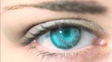 Futuristic system in eyeball — Vidéo