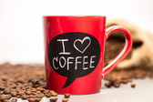 I love coffee sign on cup — Stock Photo