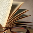 Glasses with opened book — Stock Photo #43735237