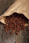 Coffee bag with beans — Stock Photo