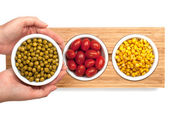 Peas, tomatoes and corn — Stock Photo