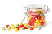Candies in glass jar — Stock Photo