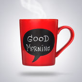 Cup with good morning sign — Stock Photo