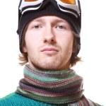 Skier portrait isolated on white — Stock Photo