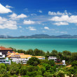 Foto Stock: Image of hotels in tropics and sea