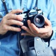 Image of reporter with film camera — Stock Photo