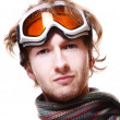 Stock Photo: Snowboarder portrait isolated over white
