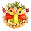 Cheerful face made from fruits and vegetables — Stock Photo