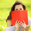 Image of young beautiful woman in summer park with a book — Stock Photo #29726129