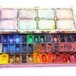 Picture of professional aquarelle paintbox over white — Stock Photo