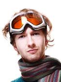 白上孤立的滑雪板肖像 — 图库照片