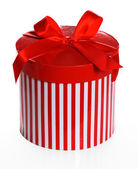 Red striped gift box — Stock Photo