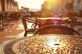 Görüntü sokak cafe sabah erken — Stok fotoğraf
