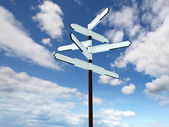 Image of blank signpost over blue sky — Stock Photo