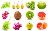 Set of summer fruits isolated on white — Stock Photo
