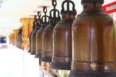 Image of bells row in Thailand temple — Stock Photo