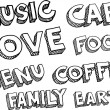 Words music, cafe, love, food, menu, coffee, family, earth — Stock Vector