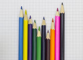 Colorful pencils on graph paper — Stock Photo