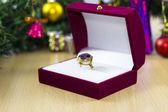 Christmas gift ring — Stock Photo