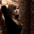 Portrait of beautiful girl standing near red brick wall — Stock Photo #29354549