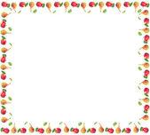 čtvercový rám z jablek a hrušek s listy — Stock fotografie