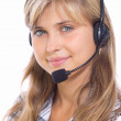 Girl operator in headphones communicate with customers — Stock Photo #30435943