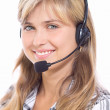 Girl operator in headphones communicate with customers — Stock Photo