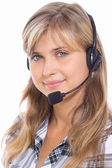 Girl operator in headphones communicate with customers — Stockfoto