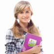 Stock Photo: Beautiful girl with a notebook in hand