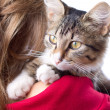 Girl with fluffy kitten in her arms — Stock Photo