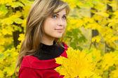 Beautiful girl enjoying the autumn landscape — Stock Photo