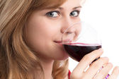 Beautiful girl with a glass of red wine — Foto Stock
