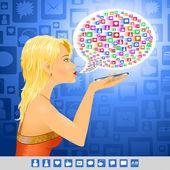 Media Girl social sign message — Stock Vector