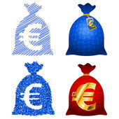 Variations Currency sack Euro EUR — Stock Vector
