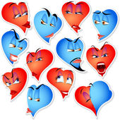 Set of hearts with emotions — Stock Vector