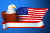 Ala bandera de american eagle — Vector de stock