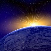 Sunrise Dawn Space Planet Warm Shine — Stock Vector