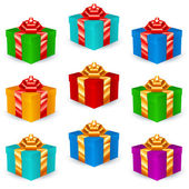Square Gift Boxes Multicolor — Stock Vector