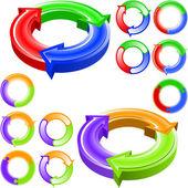круглые цветные стрелки — Cтоковый вектор