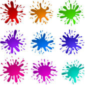Paint Ink Blots Splashes Set — Stock Vector