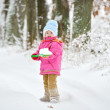 Little girl plays with shovel in snow — Stock Photo