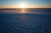 Landscape of a snow-covered field and sunset — Stock Photo