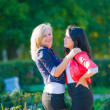 Two girlfriends in park — Stock Photo #35229135