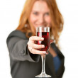 Woman with red-wine glass — Stock Photo