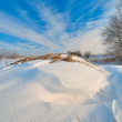 Beautiful winter landscape with blue sky — Stock Photo