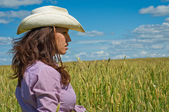 Woman in a cowboy hat — Stock Photo